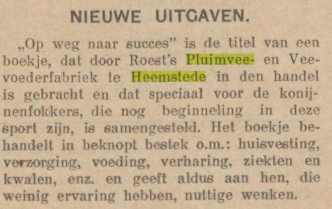 Uitgave van 'Op weg naar succes' door Roest's puimvee- en veevoederfabriek (Nieuwsblad van Friesland, 19-1-1938).