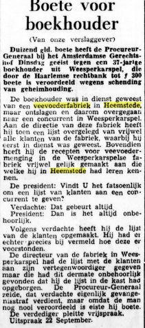 Ex-boekhouder van Roest-veevoederfabriek beboet. Bericht uit De Tijd van 9-9-1953