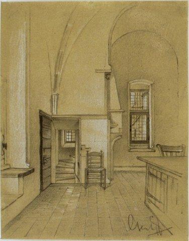 Voormalige archiefbewaarplaats in Grote Kerk Haarlem boven de sacristie op een tekening van G.Kerkhoff uit 1910 (Noord-Hollands Archief)