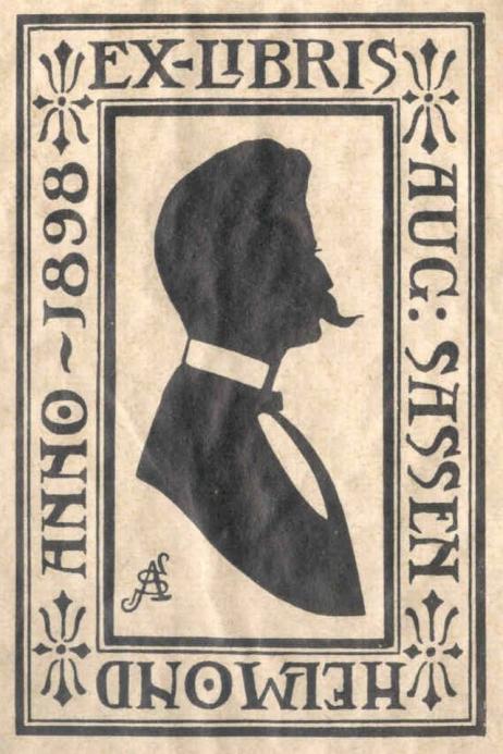 Ex libris van August Sassen (1853-1913), die o.a. als archivaris aan het gemeentearchief van Helmond was verbonden.