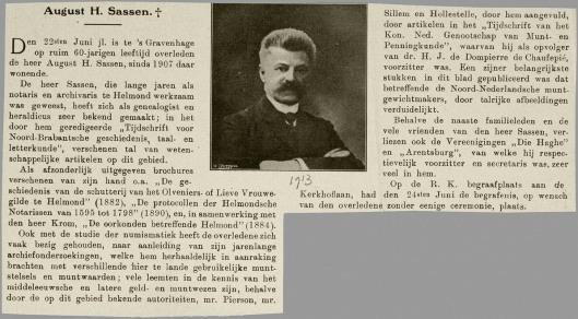 Necrologie August Sassen. Uit: De Prins, 1913