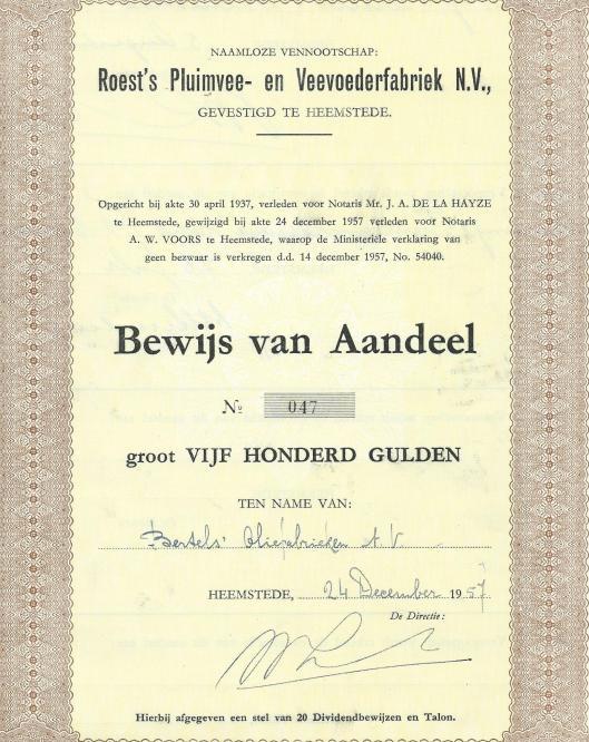 Een aandeel van n.v. Roest's Pluimvee- en Veevoederbedrijf en name van Bertels' Oliefabrieken uit 1960.