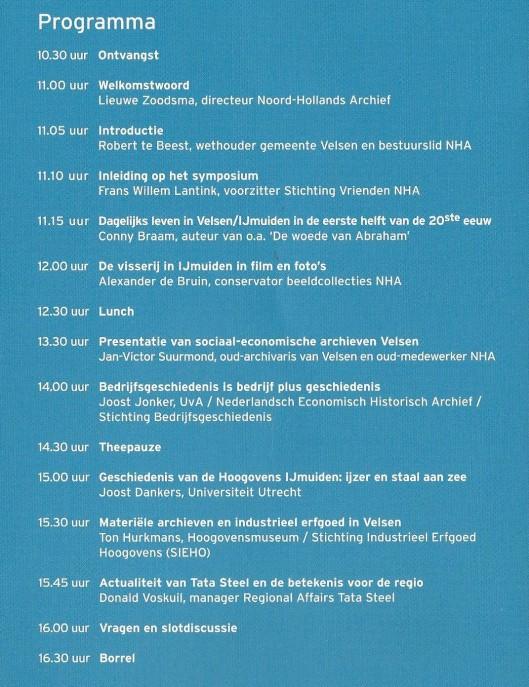 Programma symposium Velsen in Janskerk NH-Archief Haarlem, 15 december 2014