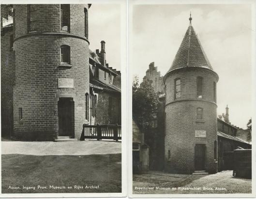 Prentbriefkaart van voormalig Provinciaal Museum en Rijksarchief aan de Brink te Assen