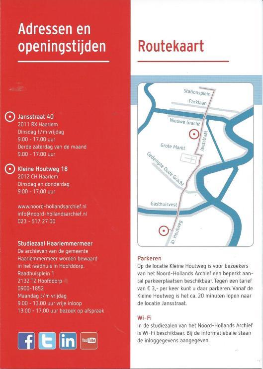 Adressen en routekaart uit folder van het Noord-Hollands Archief Haarlem