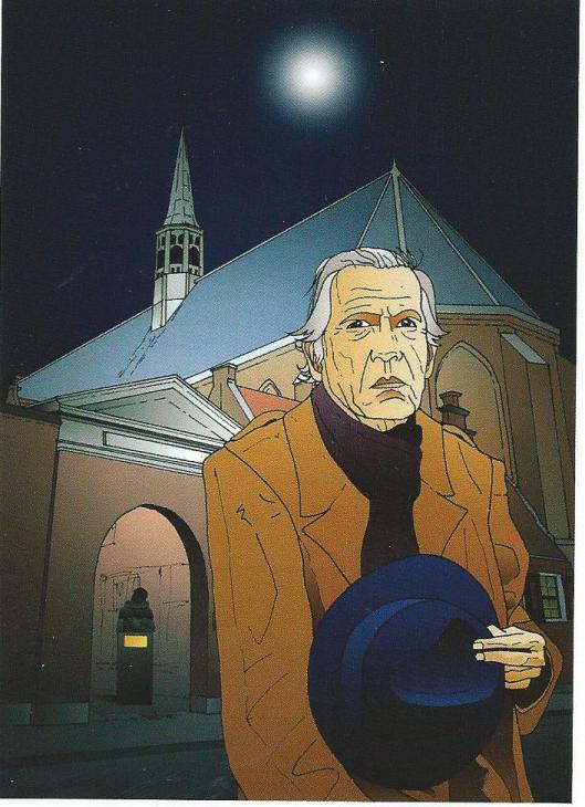 Illustratie van Eric J.Coolen die Reve portretteerde voor het archiefgebouw. Verschenen ter gelegenheid van de Reve-avond 13 maart 2009 in de Janskerk te Haarlem