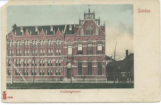 Kaart uit circa 1920 van Archiefgebouw Leiden