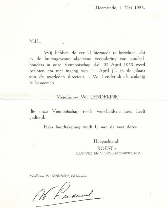 Bericht van opvolging directie Roest's pluimvee- en veevoederfabriek door mej. W.Lenderink, 1 mei 1953