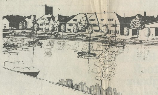 'Zo stelt de werkgroep Haven zich de nieuwe jachthaven van Heemstede voor: twee steigers voor zo'n 26 plezierschepen, een verlaagde wandelpromenade langs de kant van de Havenstraat [op de tekening aan de overzijde van het water]. De ligplaats voor zandschepen valt aan de rechterkant net buiten de prent' (Haarlems Dagblad, 18 oktober 1970).