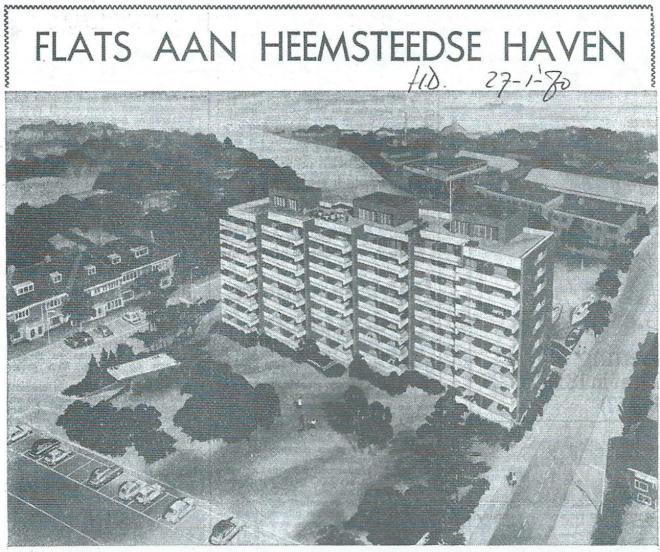 'Flats aan gedempte Heemsteedse Haven (Haarlems Dagblad van 27 januari 1970)