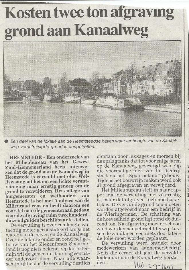 Bij raadsbesluit van 20 december 1990 is voor het verwijderen van met olie vervuilde grond, vervoerd naar de Wieringermeer, ƒ 205.000,- uitgetrokken. Deze verontreiniging stond los van de vroegere asbestfabriek aan de Havenstraat. (Haarlems Dagblad 20 december 1990)