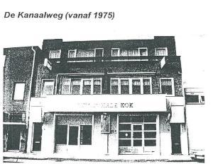 Het pand Kanaalweg 5 van Th.Kok & Zn, autoplaatwerkplaats in 1975, voorheen de smederij van De Groot & Coppens.