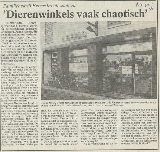 Artikel over uitbreiding van familiebedrijf Heems, uit het Haarlems Dagblad van 7 december 1988.