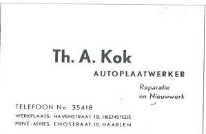 Eerste visitekaartje Th.A.Kok, Kanaalweg 1b Heemstede