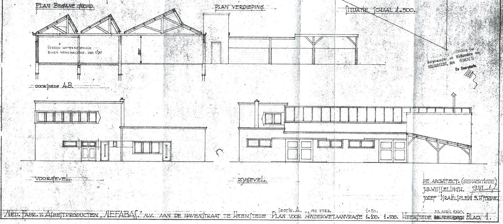 Uitsnede tekening Nefabas-fabriek 1939(bouwkundearchief Heemstede)