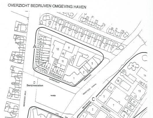 Overzicht van bedrijven in de Havenstraat en Kanaalweg in 1990.
