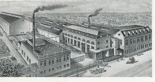 De fabriek van Merens te Haarlem in vogelvlucht
