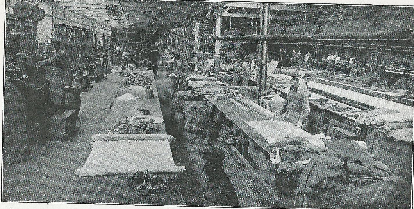 Interieurfoto van fabriek Merens in Haarlem (1918)