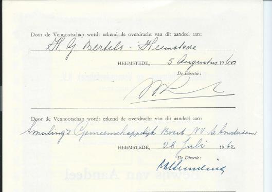 Overdracht van aandelen Roest's Pluimvee- en Veevoederfabriek n.v. aan Bertels Oliefabrieken, 1960 en 1962.