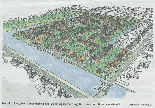 Het plan Ringoevers met rechtsonder de Hillegommerbrug. De woontoren links is door HBB geschrapt (HD, 7-0-2014)