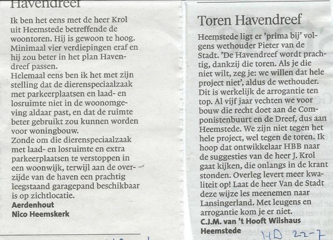 Reacties in het Haarlems Dagblad van 22 juni en 23 juli 2015