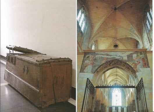 Links: komp ofwel schepenkist waarin de archieven van Meerlo werden bewaard (1645(), thans in Rijksarchief van Limburg; rechts: doxaal in de Minderbroederkerk met de muurschildering van de Annunciatie, begin 16 eeuw (Studio Oerlemans van Reeken)