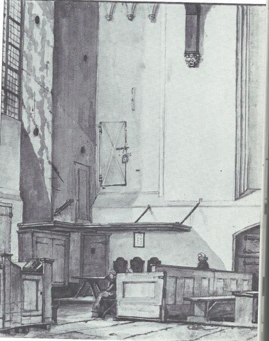 De Zuiderkruisbeyk van de Oude Kerk in Amsterdam met de buitenzijde van de uit de 15e eeuw daterende IJzeren Kapel, waarin de kast met stadsprivileges stond. Aquarel van G.Lamberts, 1808 (uit: Nederland in stukken, 1979, pagina 15.
