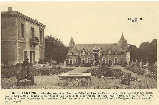Beauraing: het kasteel met archiefzaal. Ansichtkaart uit circa 1920