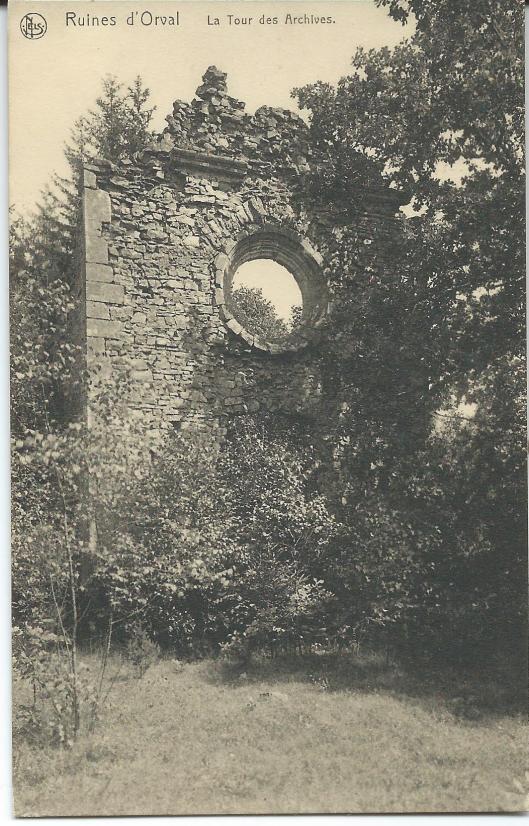 Ruïne van archieftoren abdij Orval