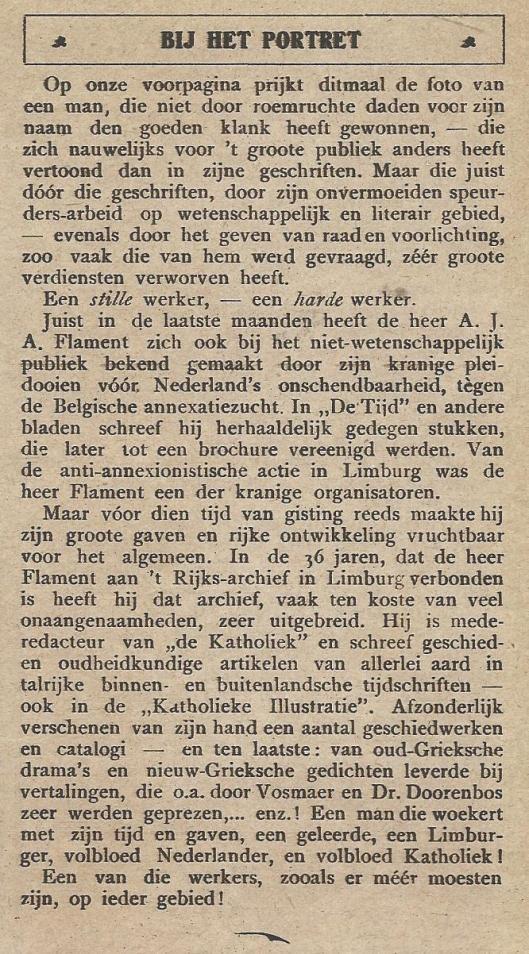 Bijschrift bij het portret van rijksarchivaris van Limburg Flament (K.I., 20 september 1919)