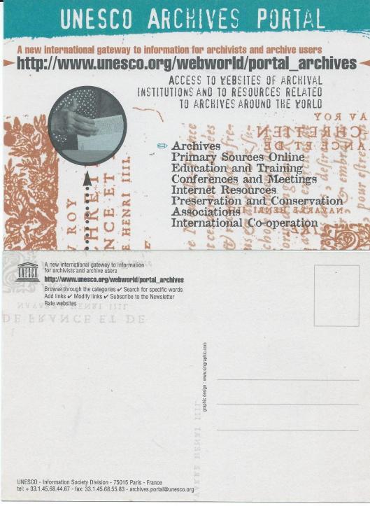 Postkaart van UNESCO ARCHIVES PORTAL