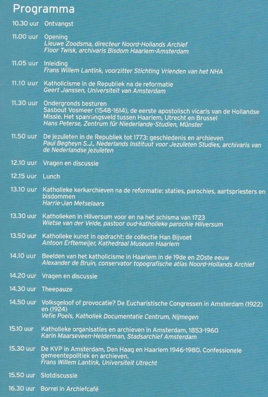 Programma Symposium in NHA Haarlem 14 december 2015
