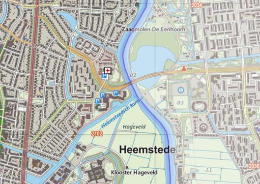 Situatiekaart van het Spaarne en afslag Heemsteeds Kanaal naar de zwaaihaven. Rode streep = Heemsteedse Dreef; rechts daarvan de Componistenwijk en helemaal rechts van het Spaarne ligt Schalkwijk.