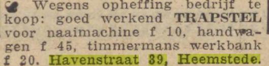 Vanwege de oorlogsomstandigheden moest het rolluikenbedrijf sluiten. De laatste advertentie in het Haarlems Dagblad dateert van 18-12-1941.