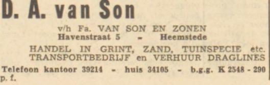 Adv. van de firma D.A.van Son en Zonen