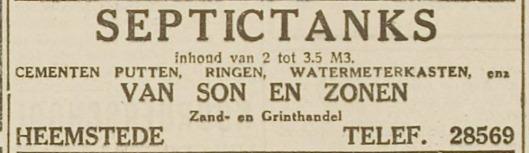 Sinds 1930 leverde zand- en grinthandel Van Son en Zonen ok septictanks (Haarlem's Dagblad, 7-5-1931)