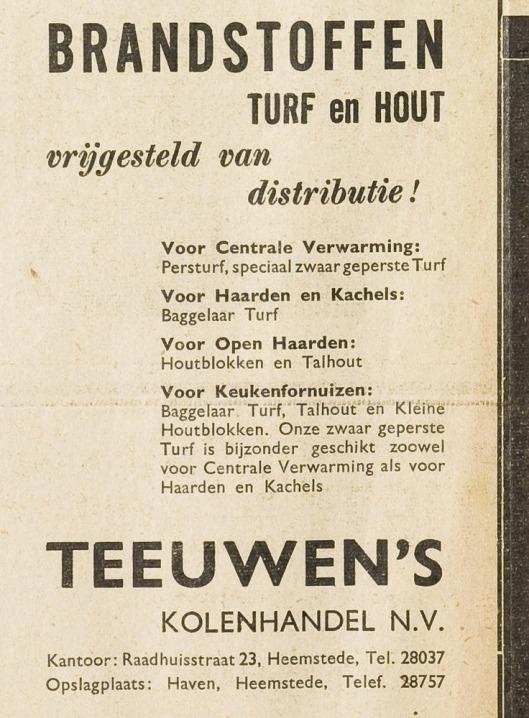 Advertentie van Teeuwen's Kolenhandel uit de Eerste Heemsteedsche Courant van 11 juli 1940.