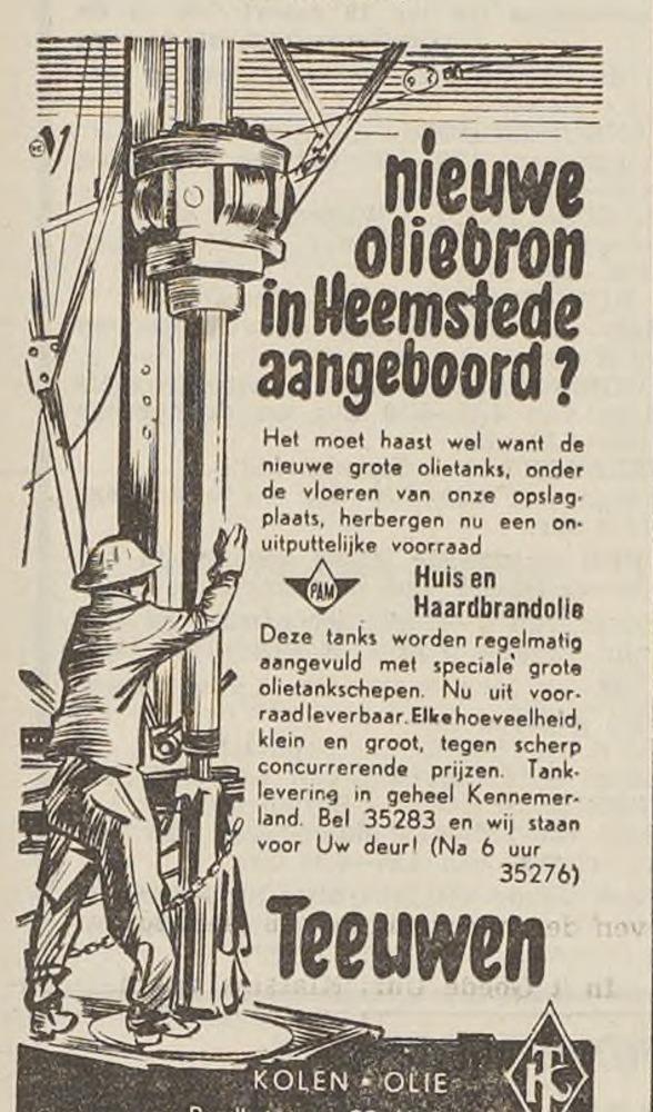 Advertentie Teeuwen uit Haarlems Dagblad van 14 februari 1959