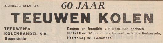 Advertentie van 60 jaar Teeuwen Kolen uit het Haarlems Dagblad van 16 mei 1957