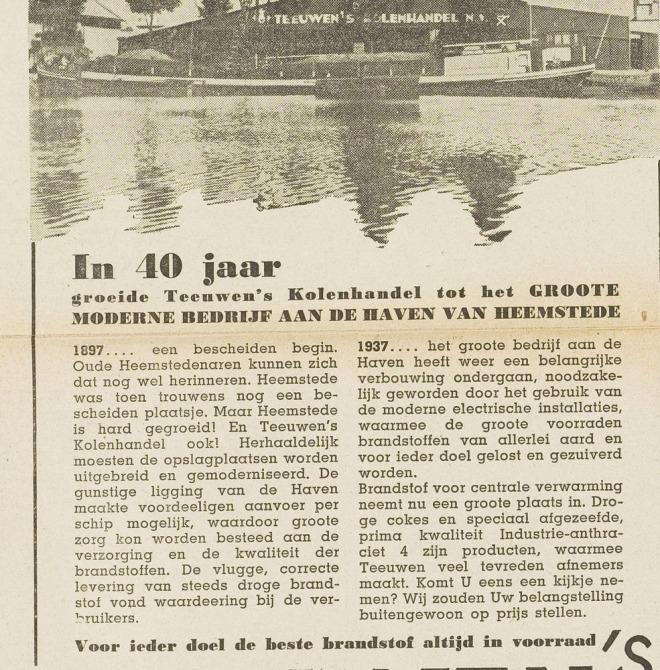 40 jaar Teeuwen 1897-1937. Uit Eerste Heemsteedsche Courant van 18-11-1937