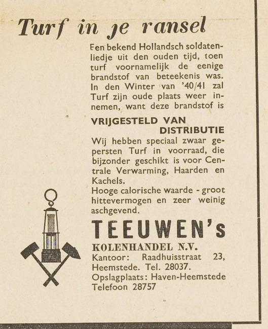 Tijdens de bezettingstijd kwam de levering van turf als brandstof weer aan de orde (EHC, 25-7-1940)