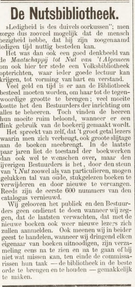Nutsbibliotheek Amersfoort (Uit: Amersfoortsche Courant, 24-11-1892)