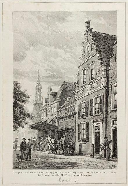Esam: gebouw van de Maatschappij tot Nut van 't Algemeen op een gravure naar een schilderij van C.Springer