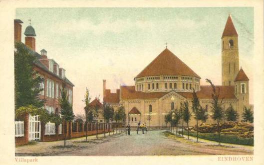 Het Nutswerk is in het hele land tot bloei gekomen met uitzondering van Noord-Brabant en Limburg. Een uitzondering is Eindhoven met een opgericht departement in 1875, opgeheven in 2011 met destijds o.a. bibliotheken, een spaarbank, scholen voor lager onderwijs, bewaarscholen en een volksuniversiteit. Op bovenstaande prentbriefkaart uit circa 1930 de H.Antonius van Paduakerk [ontworpen door Jan Stuyt) en links het nutsgebouw. In 1991 beide gebouwen gesloopt om plaats te maken voor een villapark.
