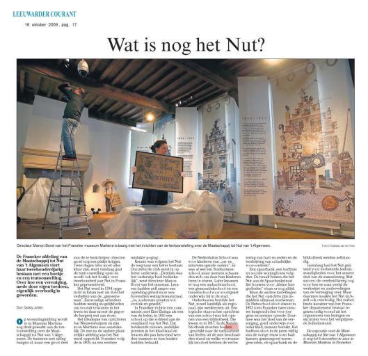 Tentoonstelling vanwege 200 jaar Nut in 2009 te Franeker.