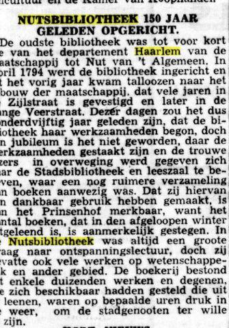 150 jaar Nutsbibliotheek Haarlem. Uit O.H.C., 27-9-1941