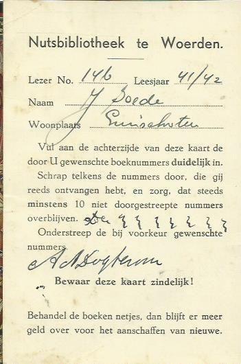 Lidmaatschapskaart Nutsbibliotheek Woerden