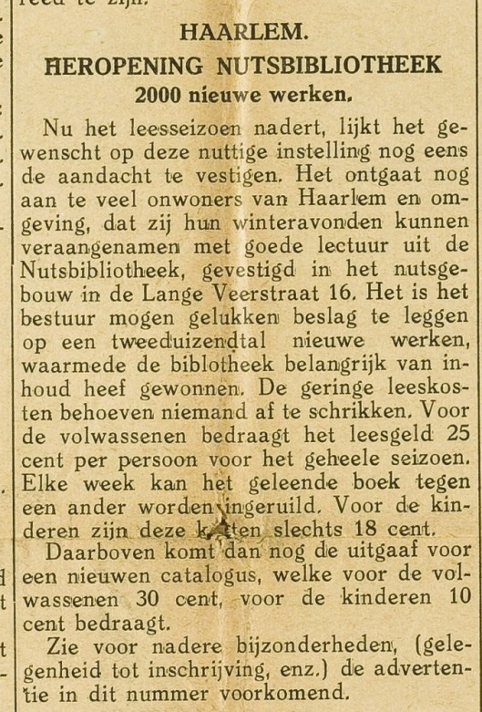 Nutsbibliotheek Haarlem 1928