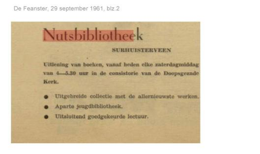 Openingstijden nutsbibliotheek Surhuisterveen