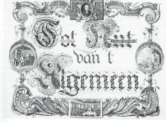 Zinneprent op de in 1794 opgerichte Maatschappij tot Nut van 't Algemeen met bovenaan een portretje van de stichter Jan Nieuwenhuyzen. Gravure uit 1786 van B.de Bakker naar A.Doesjan.